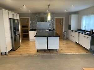 Kitchen Units And White Gloss Doors With Stainless Steel Handles