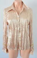 Ellen Tracy Top Blouse Shirt Size 12 medium gold metallic crush