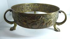 ANTIQUE ART NOUVEAU BRASS TUREEN BOWL PLATE STAND EMBOSSED FLOWERS TRI LEGGED