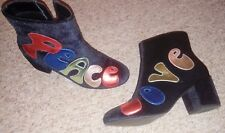 Very rare quirky slogan text blue velvet Asos ankle boots 37 UK 4 vgc