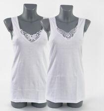 1-10 Stück Damenunterhemd Damen Unterhemden mit Spitze weiß 100%Baumwolle Top !