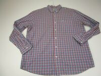 Dockers Button Up Dress Shirt Adult Extra Large Red Blue Striped Casual Mens