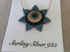 ROSE GOLD PLATED 925 SILVER NANO TURQUOISE & CZ EVIL EYE NECKLACE N-658