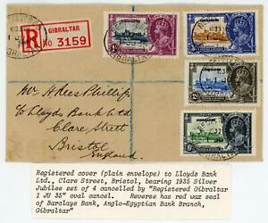 Gibraltar 1935 (1st June) Cover to England with Silver Jubilee Set Cat £48+