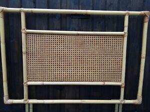 VIntage 1970s Bamboo Headboard Boho Mid Century Retro Single Bed Size