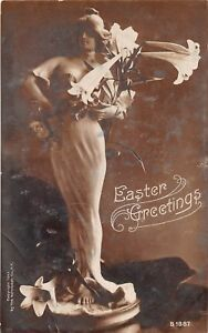 D95/ Easter Postcard Holiday Greetings Real Photo RPPC Beautiful Woman 9