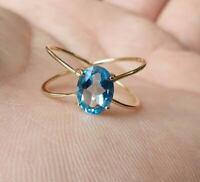 925 Sterling Silver Oval Shape Blue Topaz Gemstone Gold Vermeil Handmade Ring