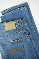 NUDIE JEANS SLIM JIM USED ELECTRIC INDIGO Men W29/L32 Fade Effect Jeans 1393/le
