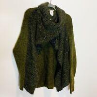 Sarah Pacini Green Lagenlook Wrap Oversized Cardigan Sweater Wool Mohair OS M L