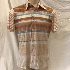Vintage Trafalgar Nylon Blend Short Sleeve Casual Men's Shirt Ivory Size L