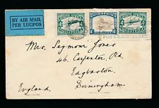SOUTH AFRICA 1933 AIRMAIL to GB...MACHINE SLOGAN USE COD PARCEL POST