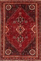 Vintage Geometric Oriental Red Wool Area Rug Hand-Knotted Tribal Carpet 7 x 10
