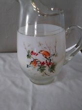 Vintage Retro Glass Water Pitcher, bird and berries, clear glass