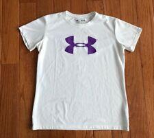 Under Armour Girls White Purple Loose Fit Shirt HeatGear Big Logo Medium YM