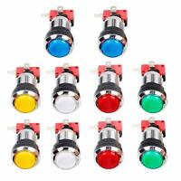 10x Chrome Plating 30mm LED Illuminated Push Buttons Switch For Arcade Machine