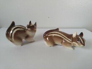 Vintage Lomonosov Russian USSR Chipmunks Figures Figurines Pottery Ornament