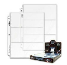 """(50) Pages of 3 Pocket Currency Collector Protector Money Sheets 3 1/2"""" x 8"""" BCW"""