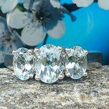 Three- Stone Oval Cut Aquamarine Engagement Ring 10k White Gold 1.52 Ct