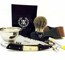 ZEVA Men's Buffalo Horn Camel Bone Straight Razor Shaving Set kit in Gift Box