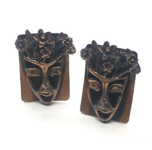 Vintage Comedy Tragedy face mask Cufflinks cuf links Copper costume jewelry