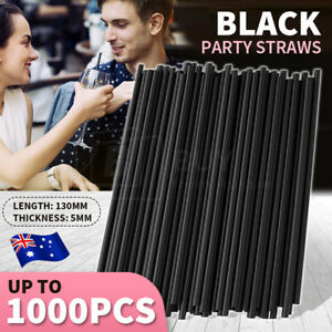Up to 1000pcs Black Drinking Plastic Party Straws Disposable  Straight Tableware