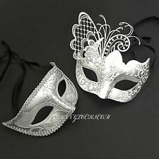 Men Women Couple Silver Metal & Glitter Venetian Masquerade Ball Party Mask