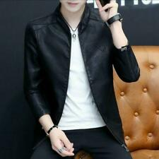 Fashion Men Coats Faux Leather Stand Collar Solid Slim Fit Korean Casual Jackets