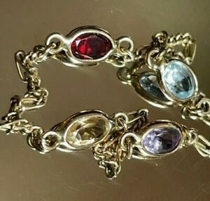ITALIAN 14K YELLOW GOLD  MULTI-GEM BRACELET