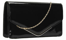 Women Paris Patent Leather Envelope Ladies Evening Party Prom Smart Clutch Bag