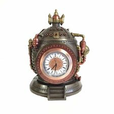 "Steampunk Time Machine Clock & Trinket Box Statue - 6"" Cold Cast Bronze"