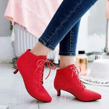 Womens Faux Suede Sexy Pointy Toe Kitten Heels Ankle Boots Lace Up Casual Shoes