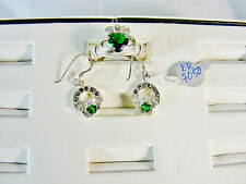 Emerald Cladaugh Ring Set: Ring with matching Emerald cladaugh ear rings, Silver