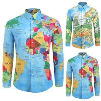 Herren Kentkragen Langarm Hemd Freizeithemd Slim Fit Hawaiihemd Sommer Hemden DE