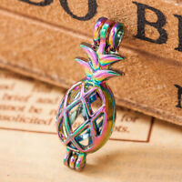 5X Rainbow Color 3D Pineapple Pearl Cage Locket Pendant Essential Oil Diffuser