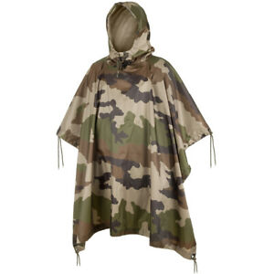 Waterproof Hooded Ripstop Poncho Camping Hiking Festival French Army Cce Camo