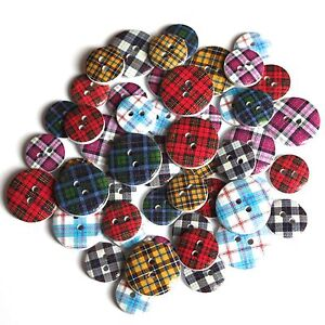 40 Scottish Mixed Assorted Tartan Patterned Wooden Buttons Craft Embellishments