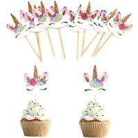 24 x Unicorn Cake Picks Cupcake Toppers Birthday Decorations Flower Rainbow Mane