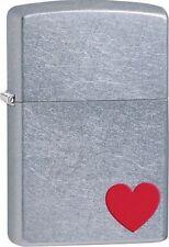 Zippo 29060 red heart street chrome finish full size Lighter