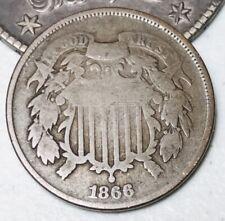 1866 US Two Cent Piece 2C Higher Grade Good Civil War Date US Copper Coin CC2982