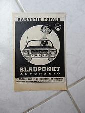 Publicité Blaupunkt autoradio 1962 advert presse coupure publicitaire