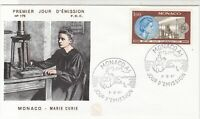 Monaco 1967 Celebrating Marie Curie Picture Town Cancel FDC Stamp Cover Ref26392