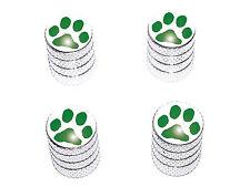 Paw Print Green - Tire Rim Valve Stem Caps - Aluminum