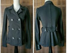 JAMES PERSE Knit Jacket Double Breasted Back belt Peacoat Black Womens Size 3
