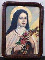 ST THERESE: Antique Vtg 40s Catholic 5x7 Framed Picture, Little Flower Saint