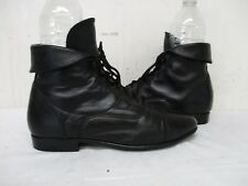 MAINE WOODS Mandy Black Leather Lace Up Granny Ankle Boots Size 8.5 M