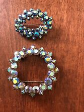 "Lot of 2 Vintage AuroraBorealis Rhinestone Brooches/Pins Unsigned 2.5&1.5"" Prong"