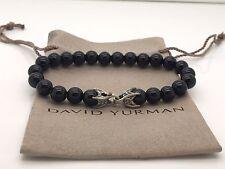 David Yurman 925 Sterling Silver 8mm Beads Black Onyx Shine Men's Bracelet