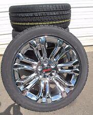 "22"" New GMC Sierra Yukon Chrome Rims 2854522 Bridgestone Tires 5666 GMC Caps"