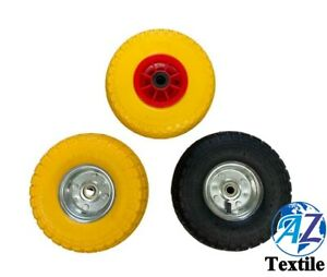 2X PUNCTURE BURST PROOF SOLID RUBBER SACK TRUCK TROLLEY CART WHEELS SPARE TYRES