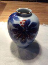 Japanese Arita-ware Leaf Pattern Ikebana Vase Fukagawa Made Blue Signed Antique